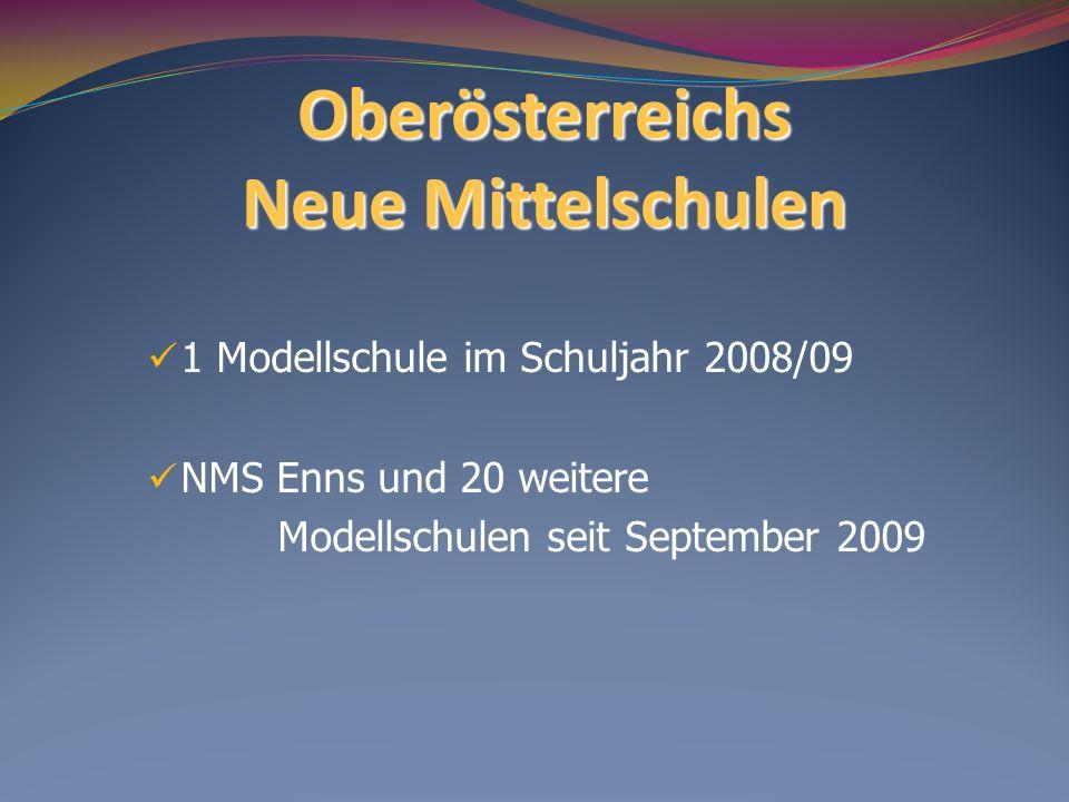 Oberösterreichs Neue Mittelschulen 1 Modellschule im Schuljahr 2008/09 NMS Enns und 20 weitere Modellschulen seit September 2009