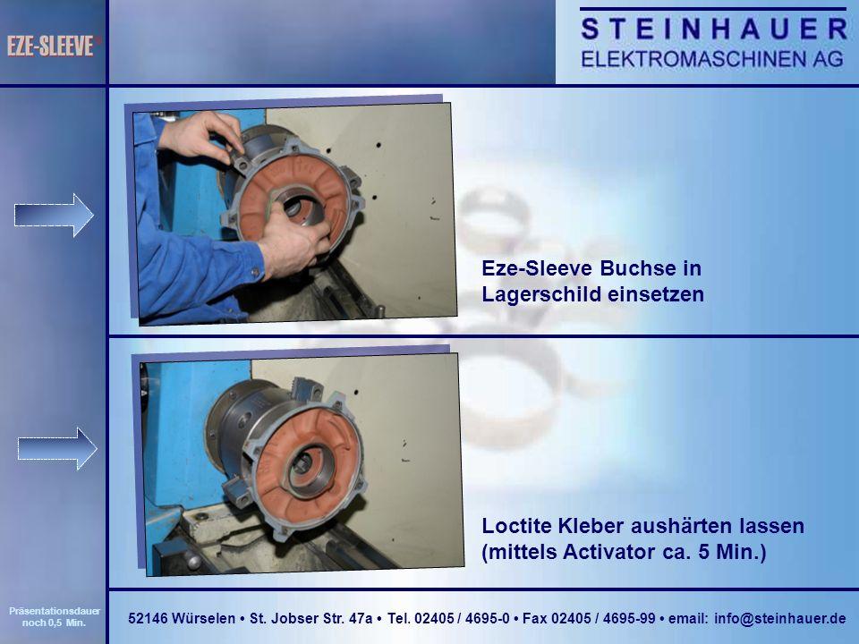 Eze-Sleeve Buchse in Lagerschild einsetzen Loctite Kleber aushärten lassen (mittels Activator ca.