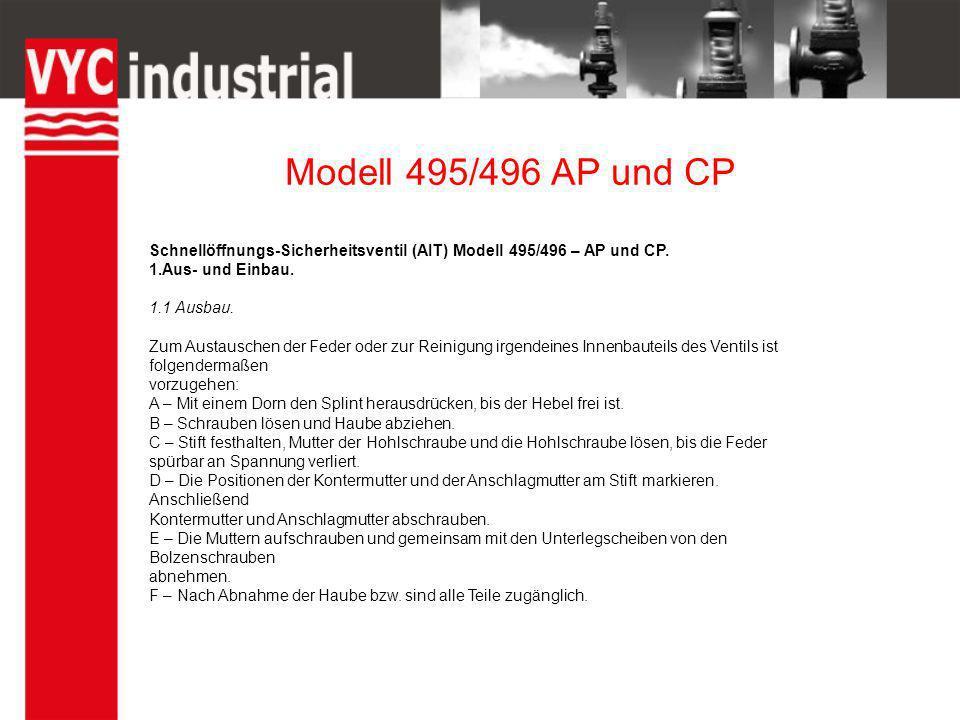 Modell 495/496 AP und CP Schnellöffnungs-Sicherheitsventil (AIT) Modell 495/496 – AP und CP. 1.Aus- und Einbau. 1.1 Ausbau. Zum Austauschen der Feder