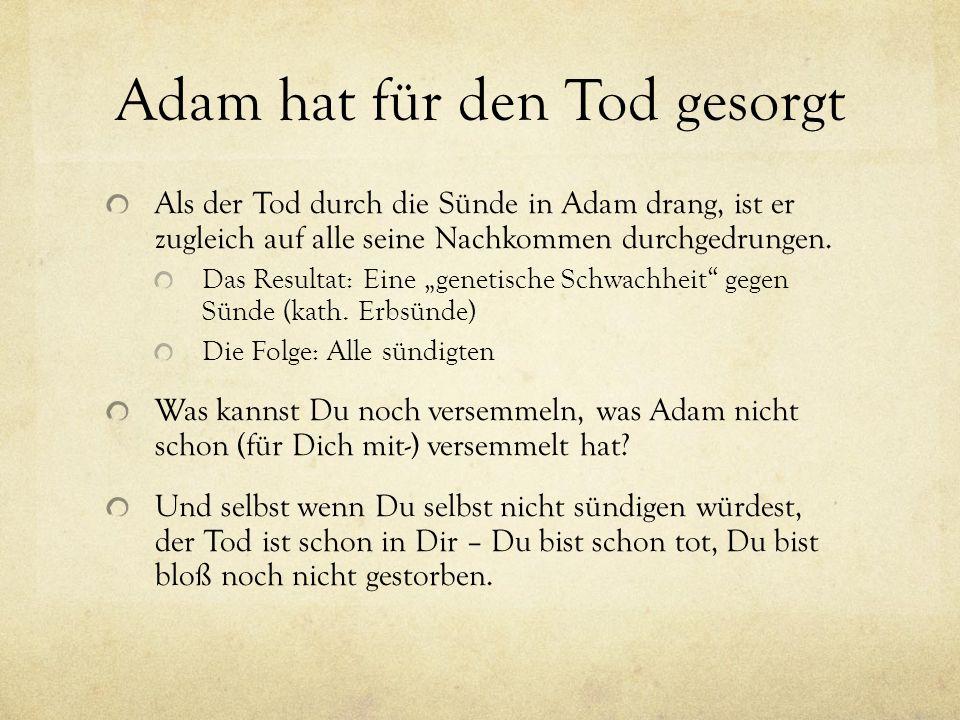 Adam hat für den Tod gesorgt Als der Tod durch die Sünde in Adam drang, ist er zugleich auf alle seine Nachkommen durchgedrungen. Das Resultat: Eine g