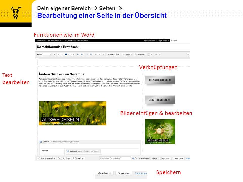 Dein eigener Bereich Seiten Bearbeitung einer Seite in der Übersicht Funktionen wie im Word Text bearbeiten Bilder einfügen & bearbeiten Speichern Verknüpfungen