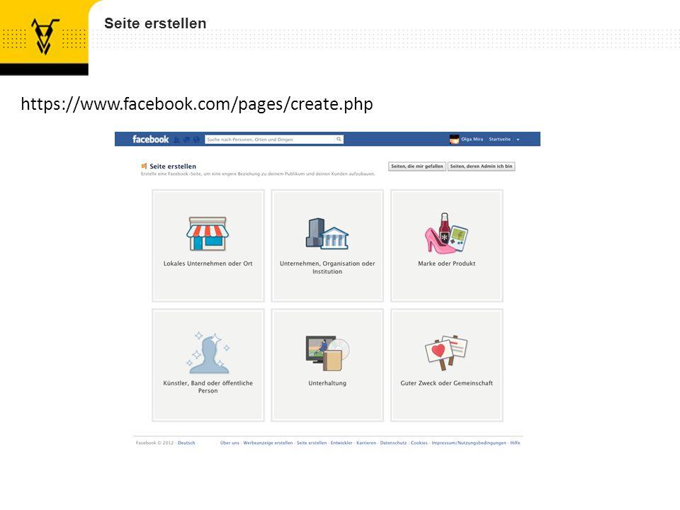 Seite erstellen https://www.facebook.com/pages/create.php