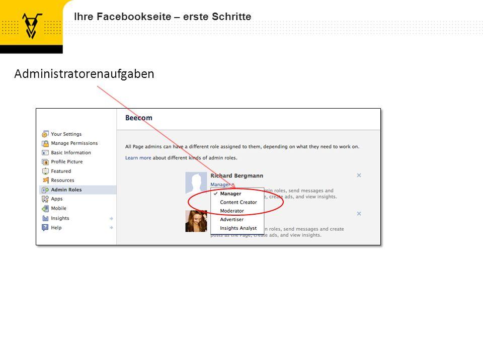 Ihre Facebookseite – erste Schritte Administratorenaufgaben
