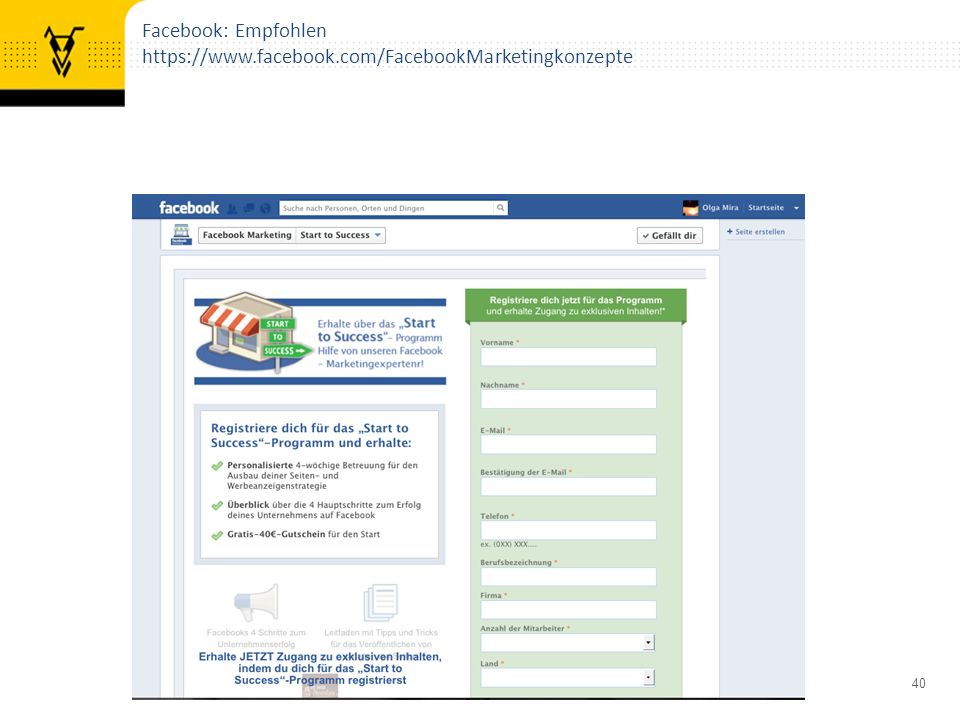 40 Facebook: Empfohlen https://www.facebook.com/FacebookMarketingkonzepte