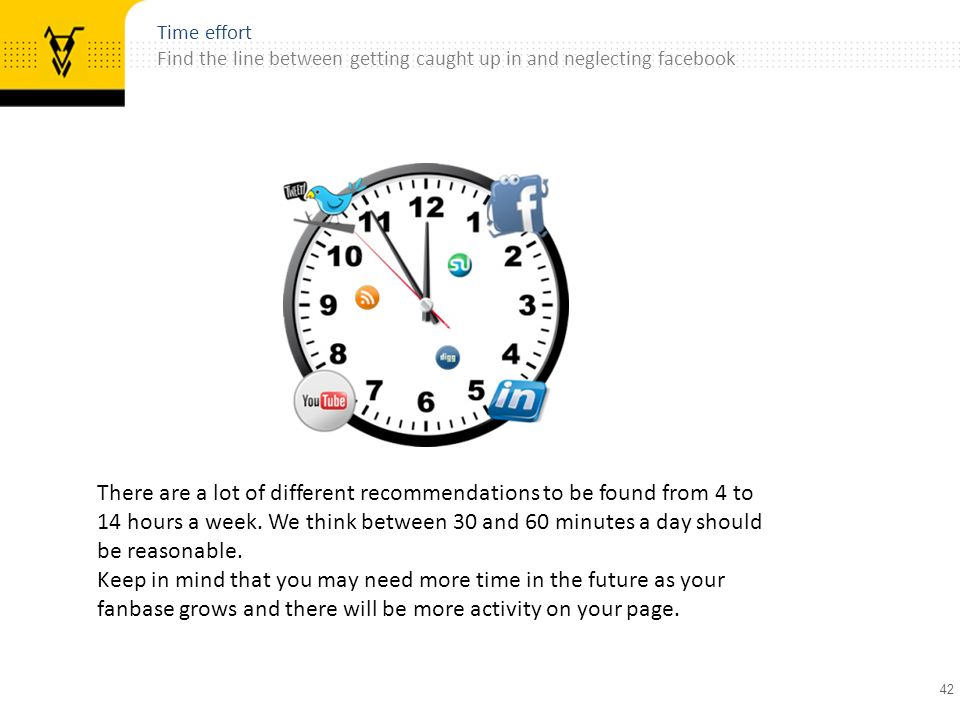 42 Time effort Find the line between getting caught up in and neglecting facebook There are a lot of different recommendations to be found from 4 to 14 hours a week.