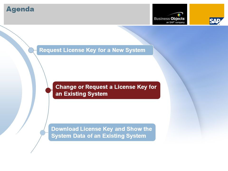 Agenda Request License Key for a New System Download License Key and Show the System Data of an Existing System Change or Request a License Key for an
