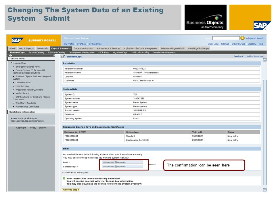 Changing The System Data of an Existing System – Submit The confirmation can be seen here