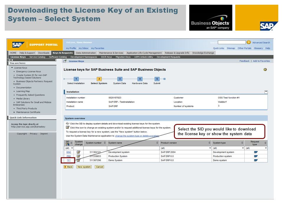 Downloading the License Key of an Existing System – Select System Select the SID you would like to download the license key or show the system data