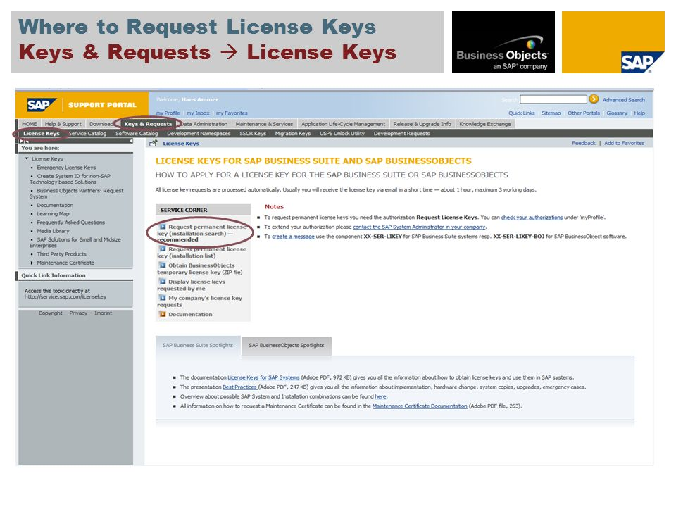 Agenda Request License Key for a New System Download License Key and Show the System Data of an Existing System Change or Request a License Key for an Existing System