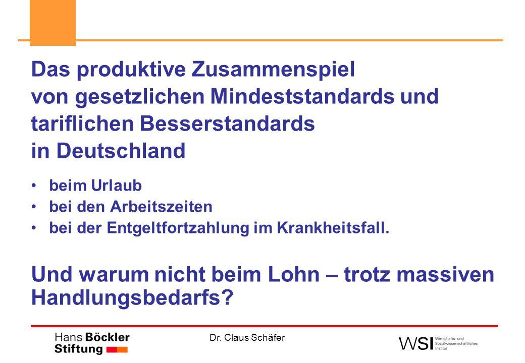 Dr. Claus Schäfer Das produktive Zusammenspiel von gesetzlichen Mindeststandards und tariflichen Besserstandards in Deutschland beim Urlaub bei den Ar