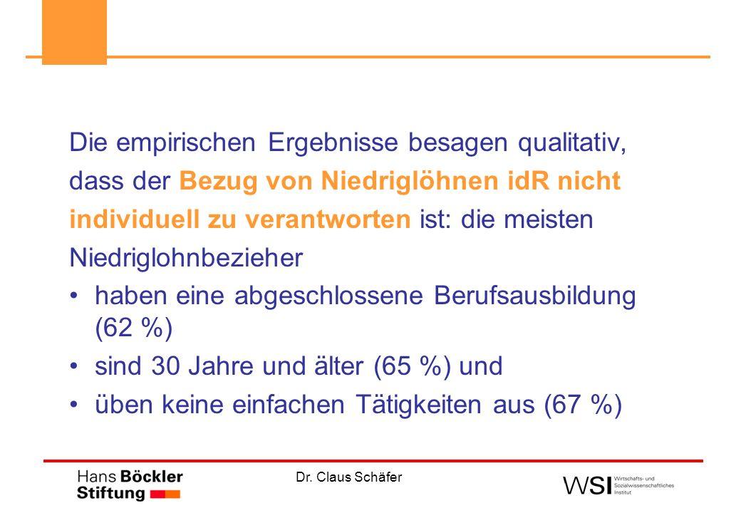 Dr. Claus Schäfer Die empirischen Ergebnisse besagen qualitativ, dass der Bezug von Niedriglöhnen idR nicht individuell zu verantworten ist: die meist