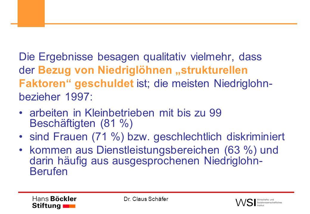 Dr. Claus Schäfer Die Ergebnisse besagen qualitativ vielmehr, dass der Bezug von Niedriglöhnen strukturellen Faktoren geschuldet ist; die meisten Nied