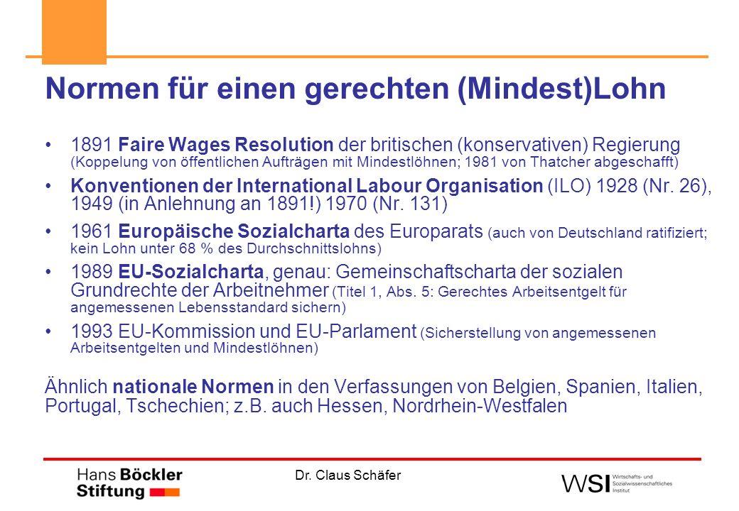 Dr. Claus Schäfer Normen für einen gerechten (Mindest)Lohn 1891 Faire Wages Resolution der britischen (konservativen) Regierung (Koppelung von öffentl