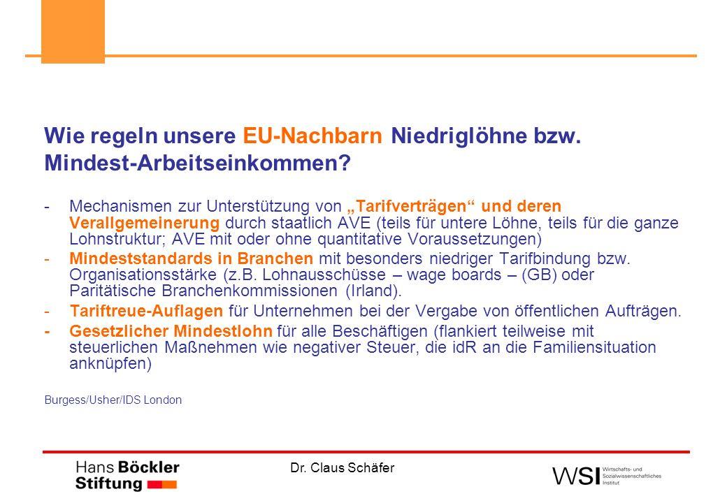 Dr. Claus Schäfer Wie regeln unsere EU-Nachbarn Niedriglöhne bzw. Mindest-Arbeitseinkommen? -Mechanismen zur Unterstützung von Tarifverträgen und dere