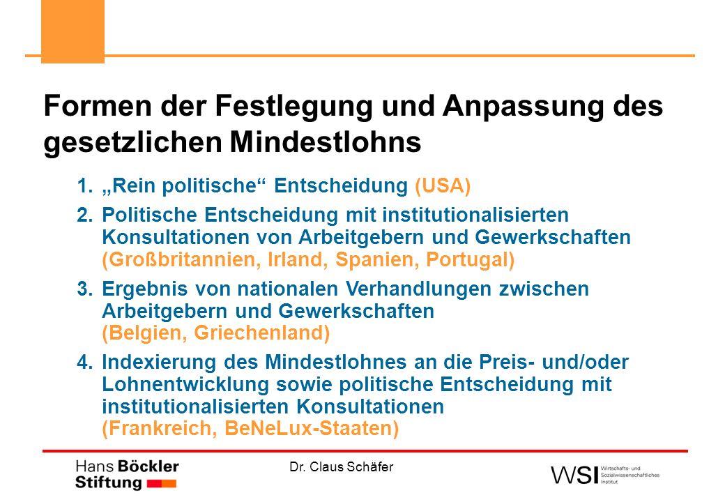 Dr. Claus Schäfer 1.Rein politische Entscheidung (USA) 2.Politische Entscheidung mit institutionalisierten Konsultationen von Arbeitgebern und Gewerks