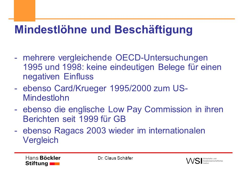 Dr. Claus Schäfer Mindestlöhne und Beschäftigung -mehrere vergleichende OECD-Untersuchungen 1995 und 1998: keine eindeutigen Belege für einen negative