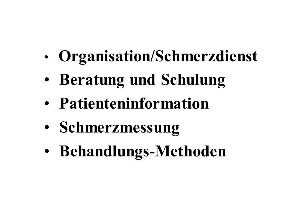 Organisation/Schmerzdienst Beratung und Schulung Patienteninformation Schmerzmessung Behandlungs-Methoden