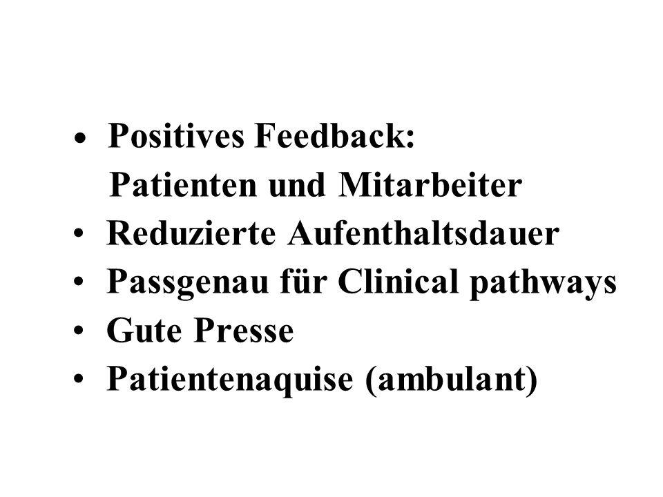 Positives Feedback: Patienten und Mitarbeiter Reduzierte Aufenthaltsdauer Passgenau für Clinical pathways Gute Presse Patientenaquise (ambulant)
