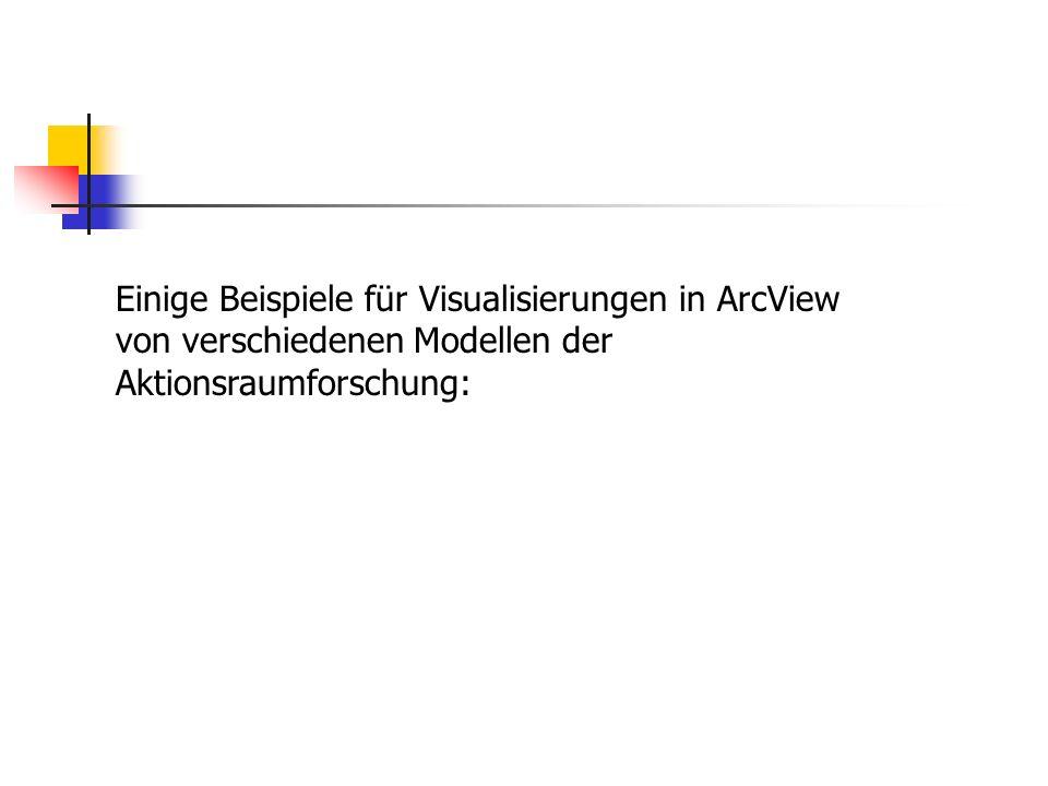 Einige Beispiele für Visualisierungen in ArcView von verschiedenen Modellen der Aktionsraumforschung: