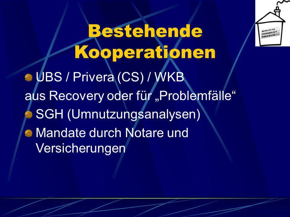 Bestehende Kooperationen UBS / Privera (CS) / WKB aus Recovery oder für Problemfälle SGH (Umnutzungsanalysen) Mandate durch Notare und Versicherungen