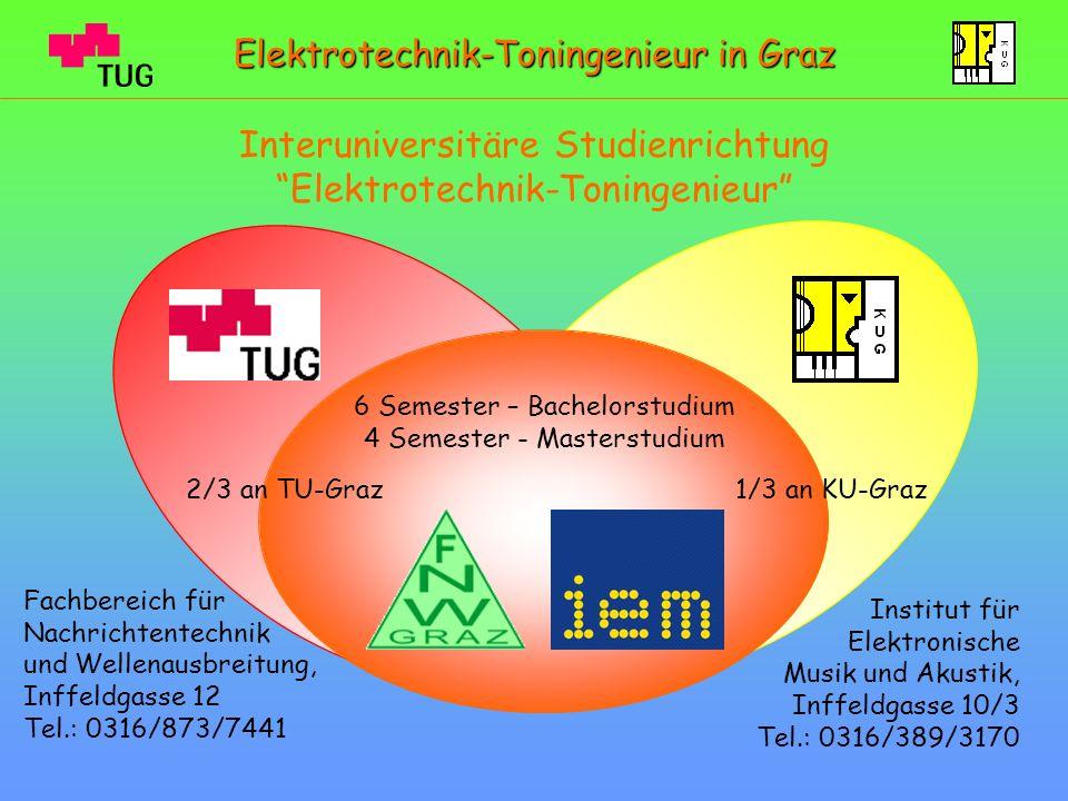 weiterführende Infos: http://www.toningenieur.tugraz.at/ Zum Studium: http://www.tugraz.at/http://www.tugraz.at/ Studierende Studienangebot Zum Studienplan: http://iem.at/lehre/gehoertest/index_html Zur Zulassungsprüfung: http://iem.at/lehre Zu Infos: http://iem.at Zum IEM: Elektrotechnik-Toningenieur in Graz http://audio.htu.tugraz.at/ Studierendenvertretung: http://www.fnw.tugraz.at Zum FNW:
