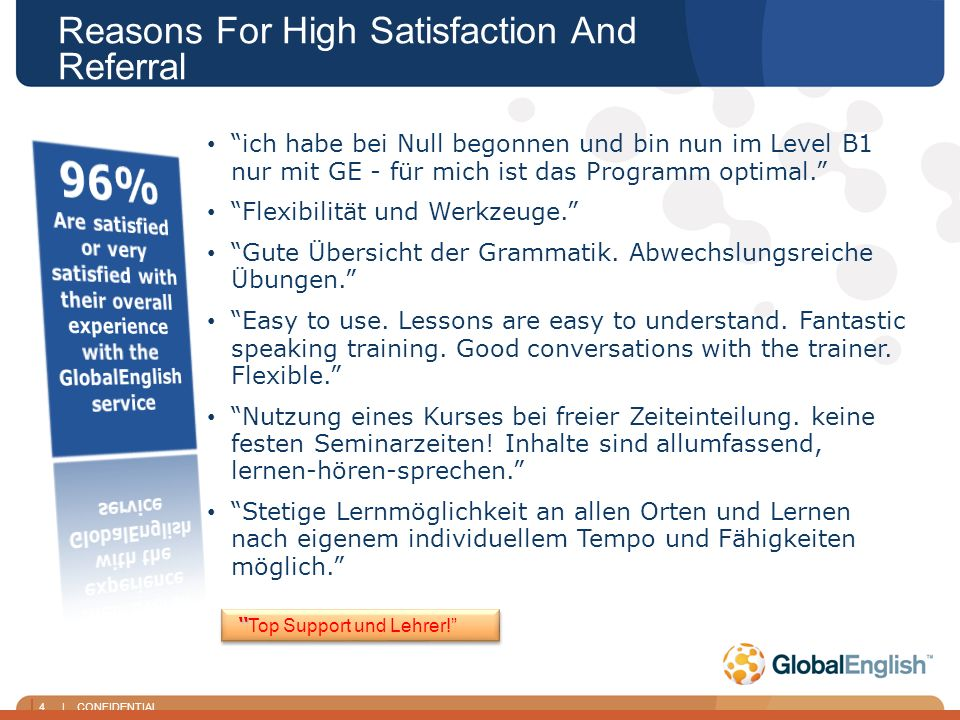 4 | CONFIDENTIAL Reasons For High Satisfaction And Referral Top Support und Lehrer.