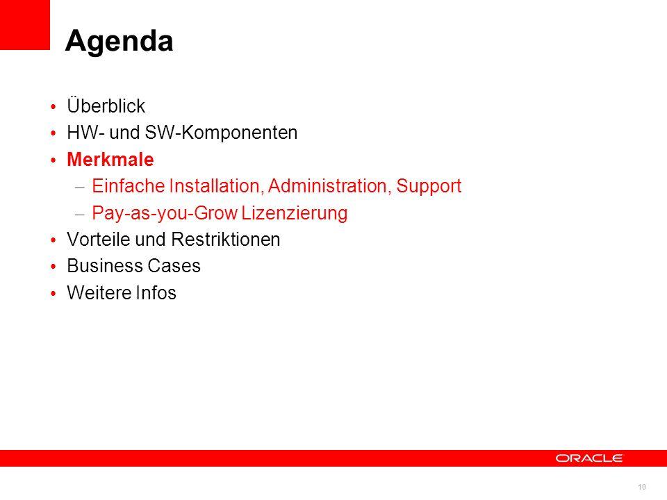 10 © 2011 Oracle Corporation Überblick HW- und SW-Komponenten Merkmale – Einfache Installation, Administration, Support – Pay-as-you-Grow Lizenzierung