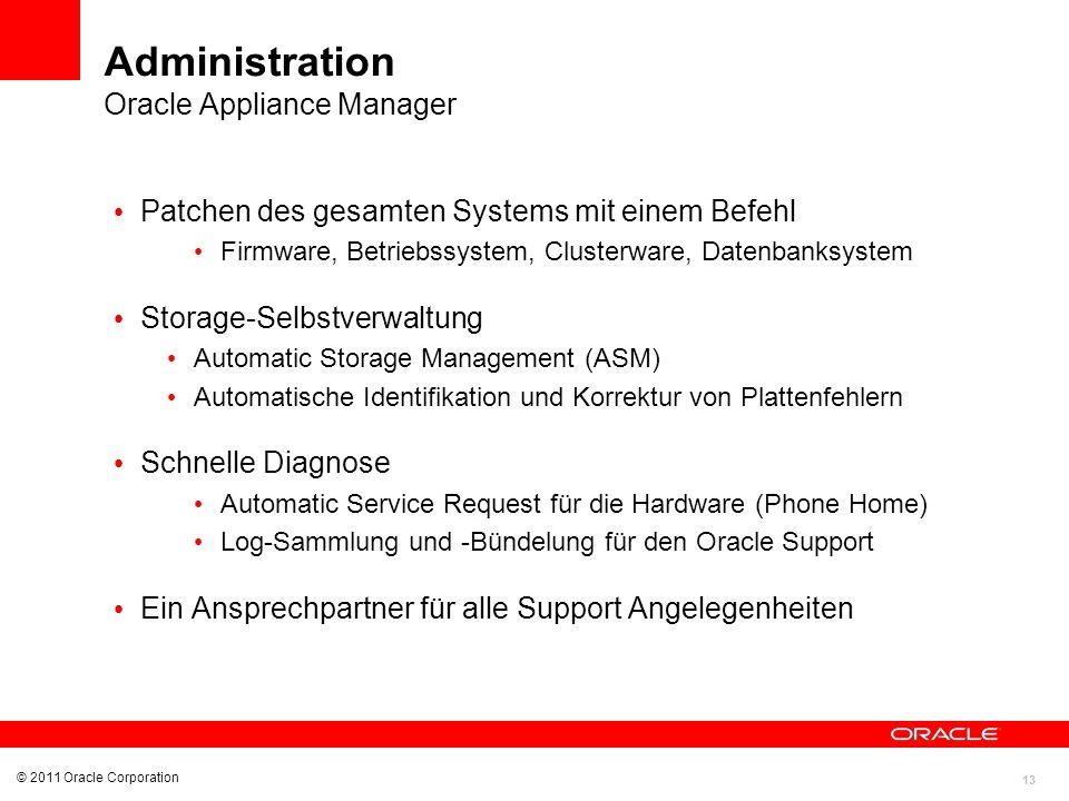 13 © 2011 Oracle Corporation Administration Oracle Appliance Manager Patchen des gesamten Systems mit einem Befehl Firmware, Betriebssystem, Clusterwa