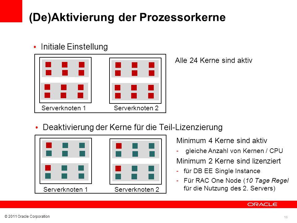 16 © 2011 Oracle Corporation (De)Aktivierung der Prozessorkerne Initiale Einstellung Alle 24 Kerne sind aktiv Deaktivierung der Kerne für die Teil-Liz