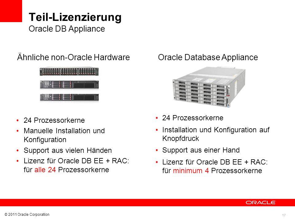 17 Teil-Lizenzierung Oracle DB Appliance 24 Prozessorkerne Manuelle Installation und Konfiguration Support aus vielen Händen Lizenz für Oracle DB EE +