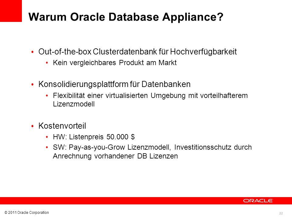 22 © 2011 Oracle Corporation Warum Oracle Database Appliance? Out-of-the-box Clusterdatenbank für Hochverfügbarkeit Kein vergleichbares Produkt am Mar
