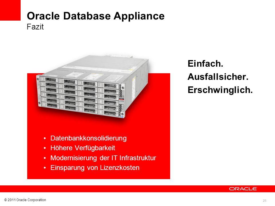 25 Datenbankkonsolidierung Höhere Verfügbarkeit Modernisierung der IT Infrastruktur Einsparung von Lizenzkosten © 2011 Oracle Corporation Einfach. Aus