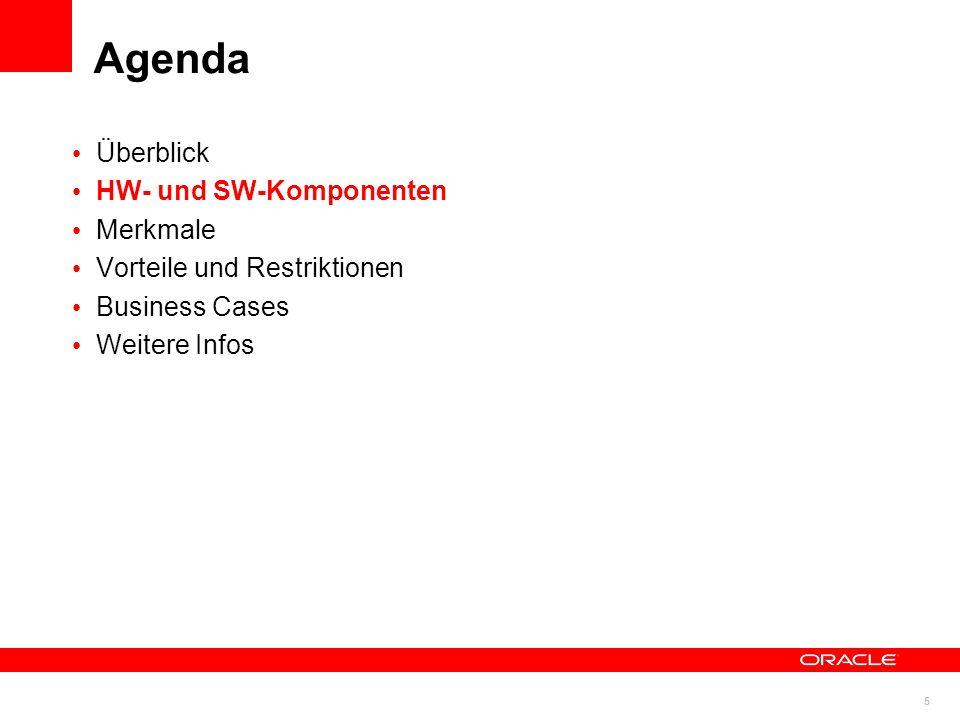 6 © 2011 Oracle Corporation Bestandteile Standardkomponenten, Standardschnittstellen Intel Prozessoren Linux x86_64 Oracle Database 11g Oracle RAC Standard Schnittstellen USB 2.0, 1 GbE, 10 GbE SAS/SATA HDD SAS SSD Storage NEUIGKEIT: Integriert, optimiert, getestet, automatisiert + + + + + = Oracle DB Appliance