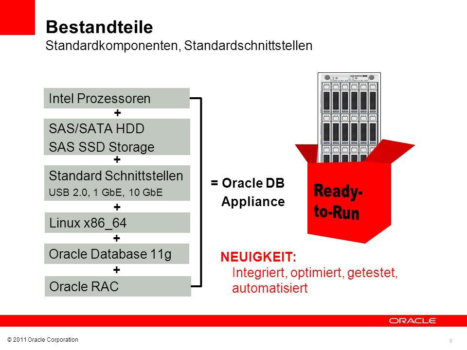 7 © 2011 Oracle Corporation Komplett redundante Hardware Sicht von vorne Eine Maschine bestehend aus: 2 x Serverknoten Pro Server: 2 x CPU 6-Core Intel Xeon X5675 96 GB Hauptspeicher Shared Storage SAS HDD: insgesamt 12 TB dreifach gespiegelt nutzbar 4 TB für die DB SAS SSD: Flash-Speicher für Redo Logs 292 GB, dreifach gespiegelt Netzwerk GbE Interconnect für Clusterkommunikation GbE,10 GbE für externe Kommunikation 24 Prozessorkerne 192 GB Hauptspeicher 4 TB Shared Storage Storage, Netzwerk, Netzteile, Lüfter redundant ausgelegt Performance