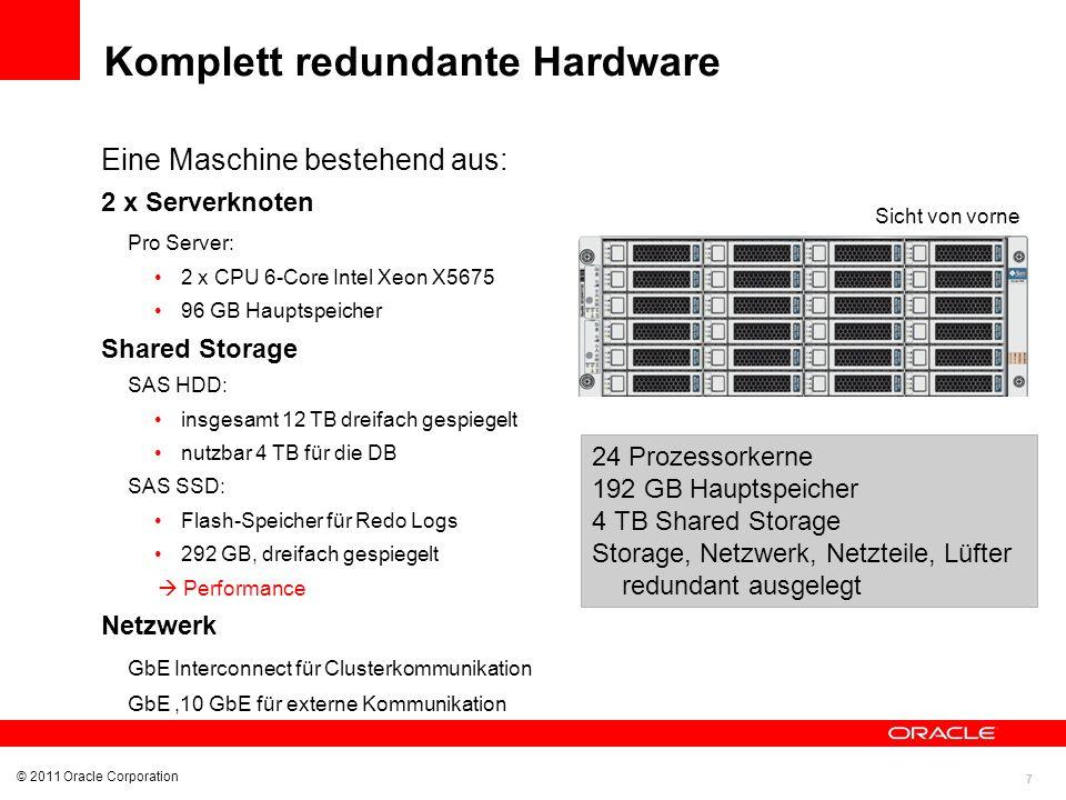 7 © 2011 Oracle Corporation Komplett redundante Hardware Sicht von vorne Eine Maschine bestehend aus: 2 x Serverknoten Pro Server: 2 x CPU 6-Core Inte