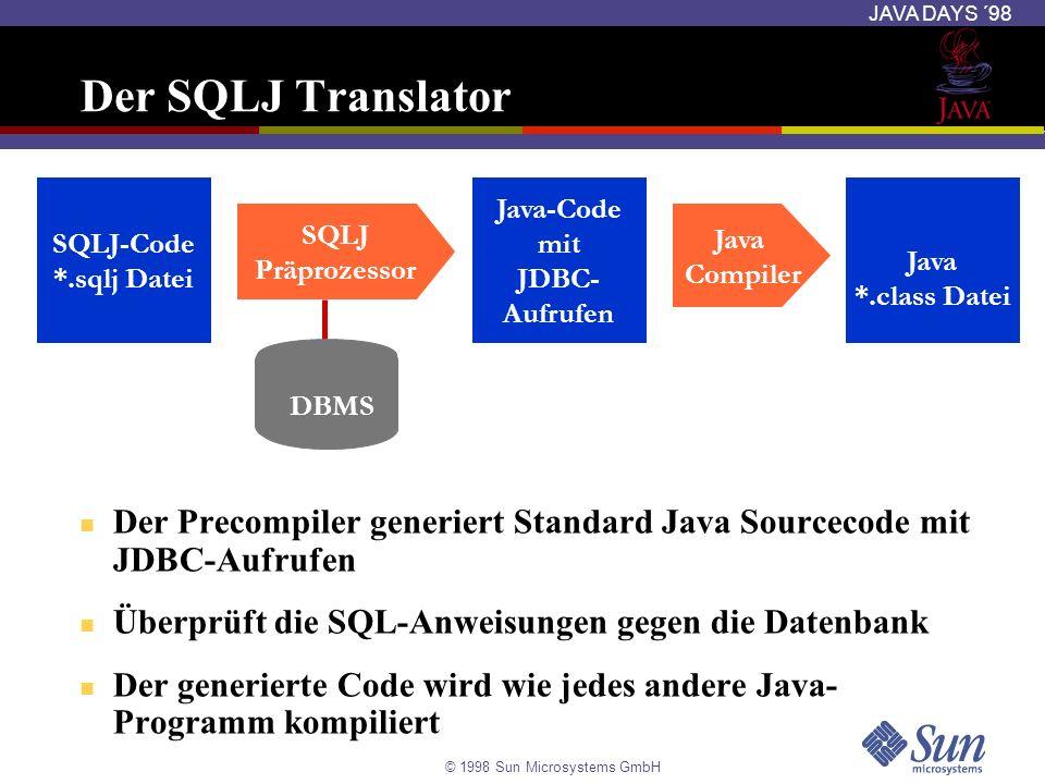 © 1998 Sun Microsystems GmbH JAVA DAYS ´98 Der SQLJ Translator Der Precompiler generiert Standard Java Sourcecode mit JDBC-Aufrufen Überprüft die SQL-