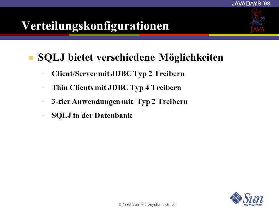 © 1998 Sun Microsystems GmbH JAVA DAYS ´98 15 Verteilungskonfigurationen SQLJ bietet verschiedene Möglichkeiten - Client/Server mit JDBC Typ 2 Treiber