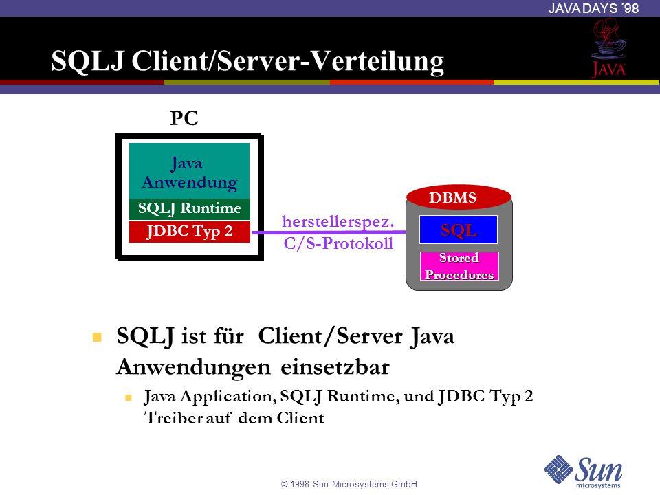 © 1998 Sun Microsystems GmbH JAVA DAYS ´98 SQLJ Client/Server-Verteilung Java Anwendung herstellerspez. C/S-Protokoll PC SQLJ Runtime JDBC Typ 2 DBMS