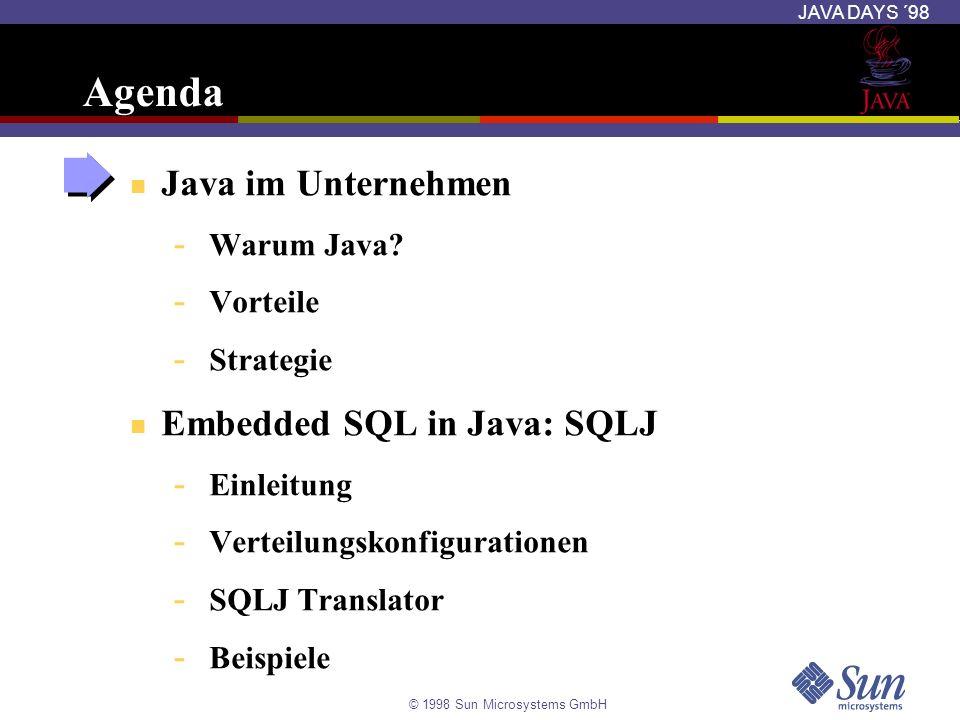 © 1998 Sun Microsystems GmbH JAVA DAYS ´98 Frühe Typen-Überprüfung Date d = new Date (1993,3,11); // SQLJ #sql {insert into EMP (sal) values (:d)}; Translator überprüft die Typen der Java Variablen gegen SQL-Typen Wirft einen Type Mismatch Error Ein äquivalentes JDBC-Programm würde nur einen Laufzeitfehler verursachen SQLJ-Programme sind robust