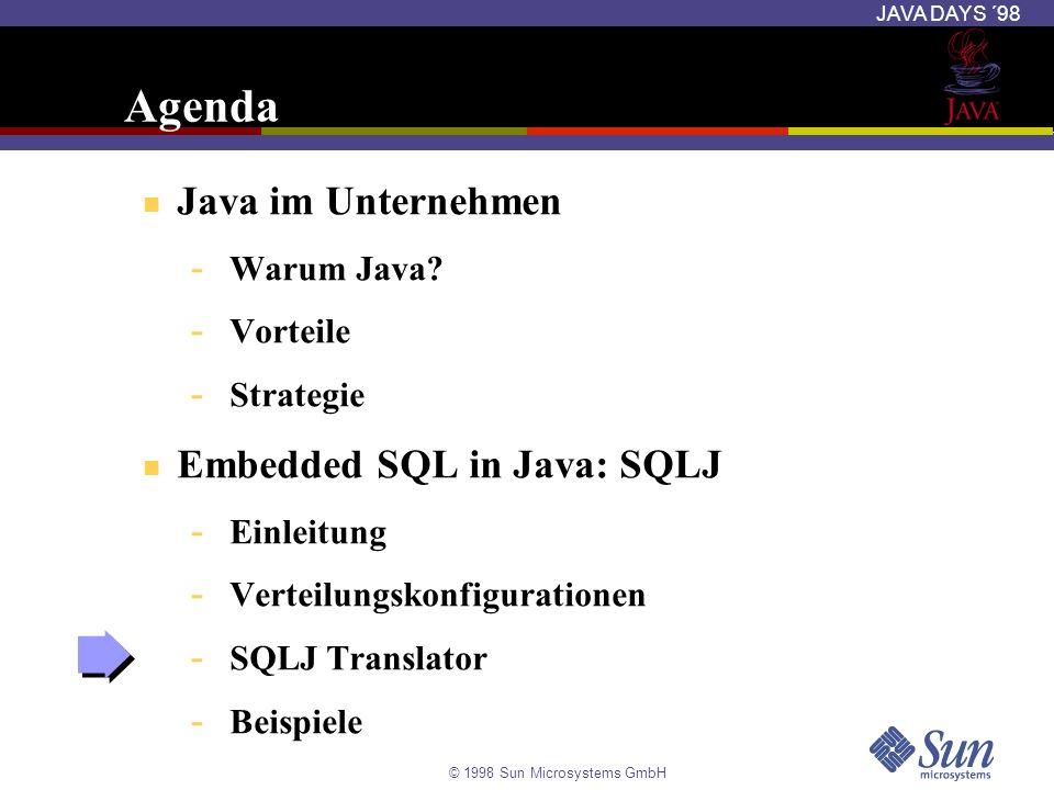 © 1998 Sun Microsystems GmbH JAVA DAYS ´98 Agenda Java im Unternehmen - Warum Java? - Vorteile - Strategie Embedded SQL in Java: SQLJ - Einleitung - V