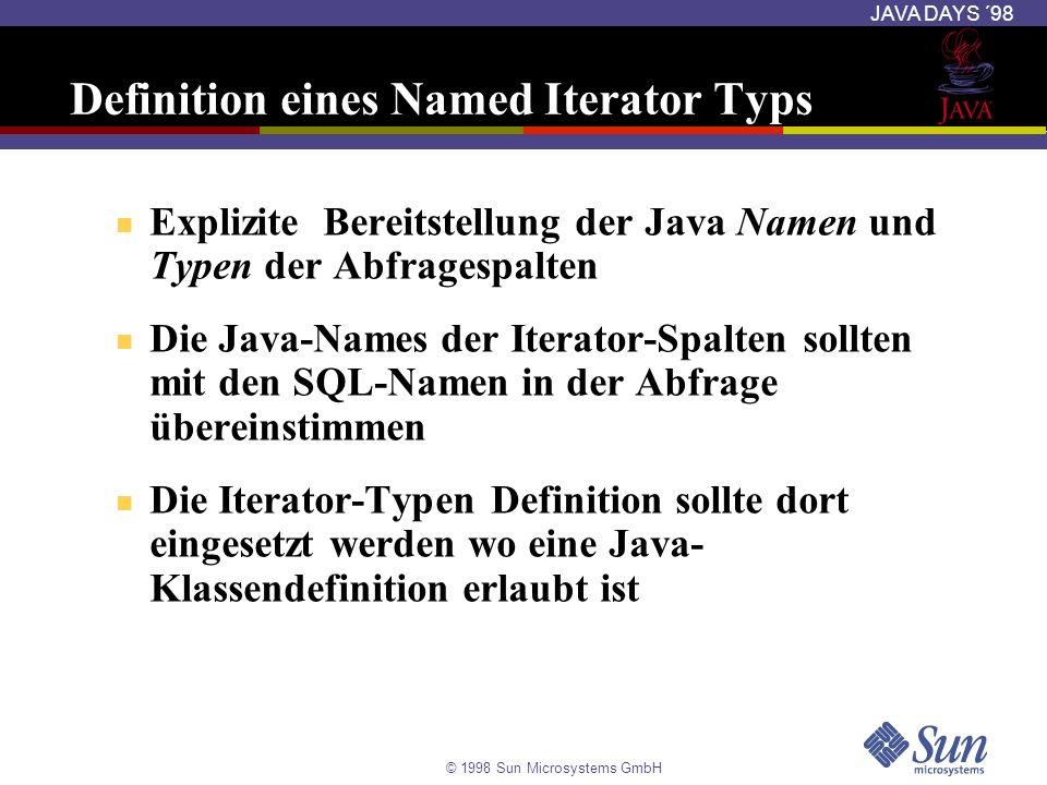 © 1998 Sun Microsystems GmbH JAVA DAYS ´98 Definition eines Named Iterator Typs Explizite Bereitstellung der Java Namen und Typen der Abfragespalten D