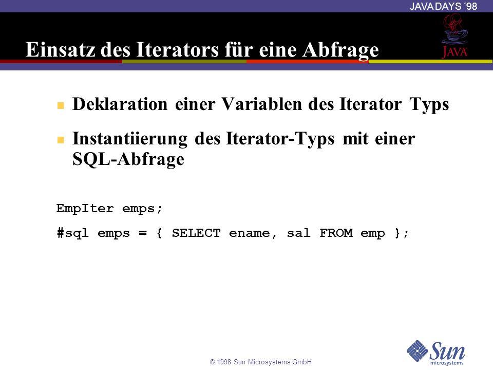 © 1998 Sun Microsystems GmbH JAVA DAYS ´98 Einsatz des Iterators für eine Abfrage Deklaration einer Variablen des Iterator Typs Instantiierung des Ite