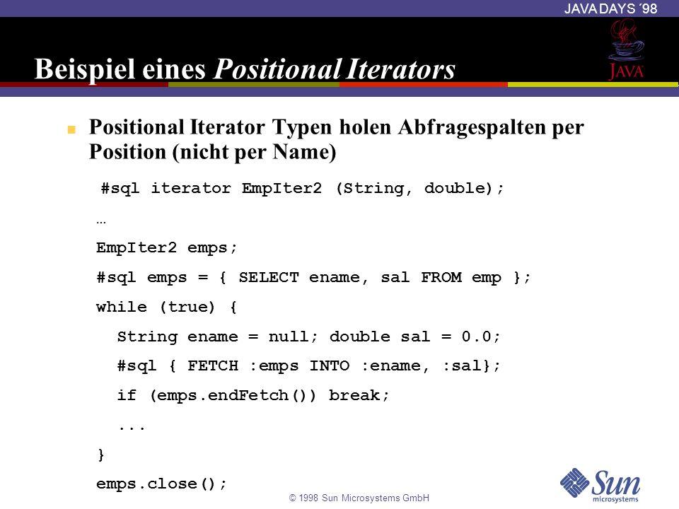 © 1998 Sun Microsystems GmbH JAVA DAYS ´98 Beispiel eines Positional Iterators Positional Iterator Typen holen Abfragespalten per Position (nicht per