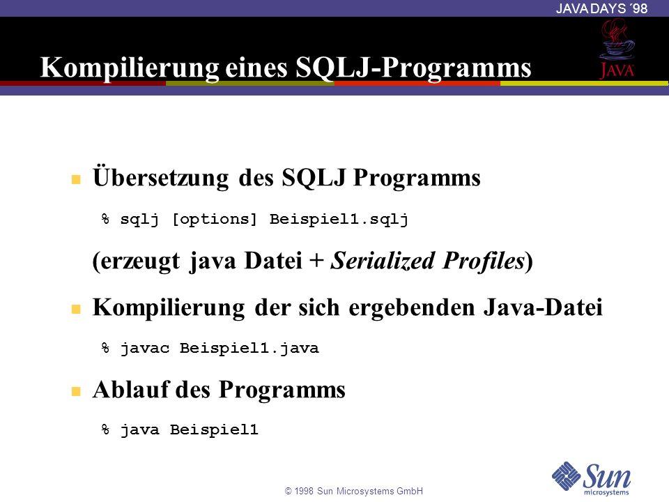 © 1998 Sun Microsystems GmbH JAVA DAYS ´98 Kompilierung eines SQLJ-Programms Übersetzung des SQLJ Programms % sqlj [options] Beispiel1.sqlj (erzeugt j