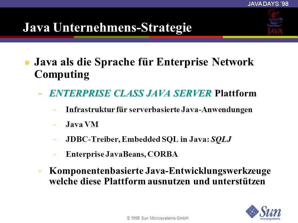 © 1998 Sun Microsystems GmbH JAVA DAYS ´98 Kompilierung eines SQLJ-Programms Übersetzung des SQLJ Programms % sqlj [options] Beispiel1.sqlj (erzeugt java Datei + Serialized Profiles) Kompilierung der sich ergebenden Java-Datei % javac Beispiel1.java Ablauf des Programms % java Beispiel1