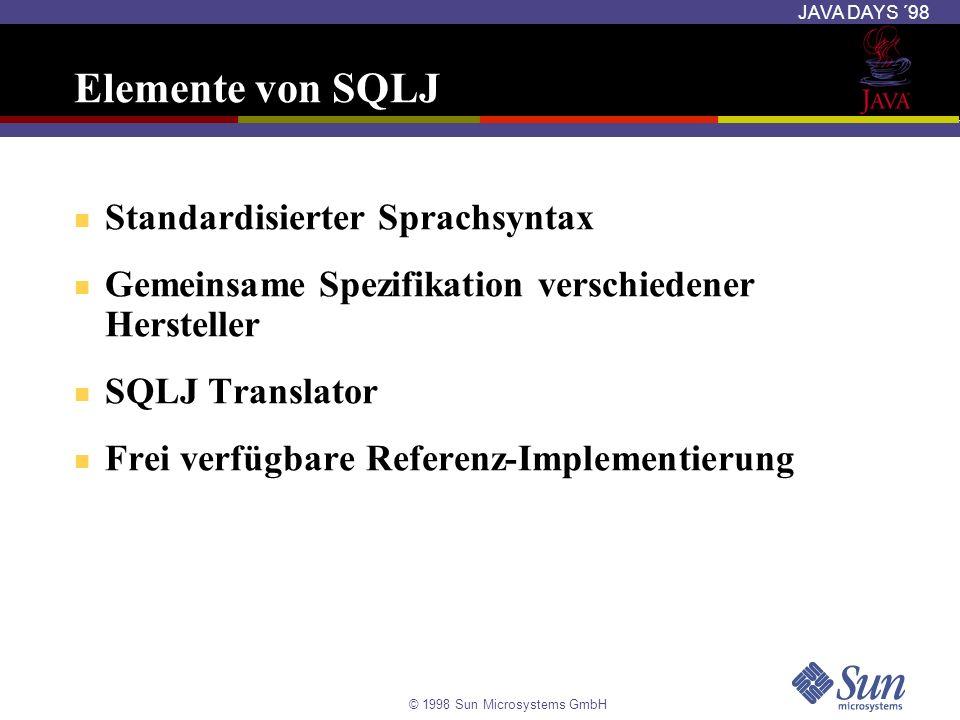 © 1998 Sun Microsystems GmbH JAVA DAYS ´98 Der SQLJ Translator Der Precompiler generiert Standard Java Sourcecode mit JDBC-Aufrufen Überprüft die SQL-Anweisungen gegen die Datenbank Der generierte Code wird wie jedes andere Java- Programm kompiliert SQLJ-Code *.sqlj Datei SQLJ Präprozessor Java-Code mit JDBC- Aufrufen Java Compiler Java *.class Datei DBMS