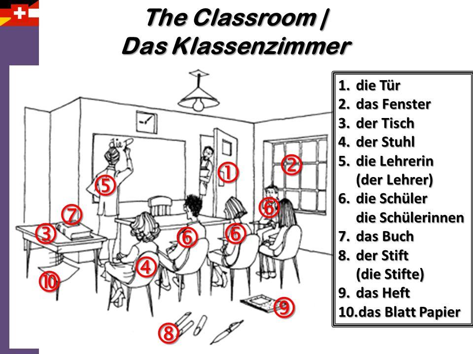 The Classroom | Das Klassenzimmer 1.die Tür 2.das Fenster 3.der Tisch 4.der Stuhl 5.die Lehrerin (der Lehrer) 6.die Schüler die Schülerinnen 7.das Buc