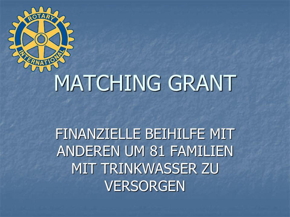 MATCHING GRANT FINANZIELLE BEIHILFE MIT ANDEREN UM 81 FAMILIEN MIT TRINKWASSER ZU VERSORGEN