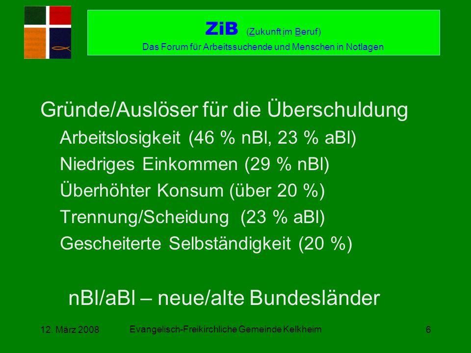 Evangelisch-Freikirchliche Gemeinde Kelkheim 12. März 20086 Gründe/Auslöser für die Überschuldung Arbeitslosigkeit (46 % nBl, 23 % aBl) Niedriges Eink