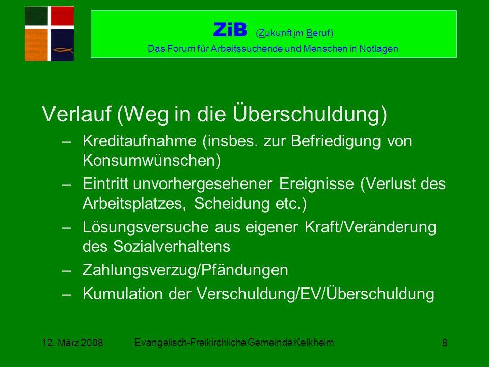 Evangelisch-Freikirchliche Gemeinde Kelkheim 12. März 20088 Verlauf (Weg in die Überschuldung) –Kreditaufnahme (insbes. zur Befriedigung von Konsumwün